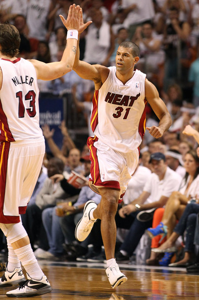 Mike Miller Miami Heat Forward Shane Battier #31 of the Miami Heat celebrates with teammate Mike Miller #13 against the New York Knicks in Game One of the Eastern  Conference Quarterfinals in the 2012 NBA Playoffs  on April 28, 2012 at the American Airines Arena in Miami, Florida. The Heat defeated the Knicks 100-67. NOTE TO USER: User expressly acknowledges and agrees that, by downloading and or using this photograph, User is consenting to the terms and conditions of the Getty Images License Agreement.