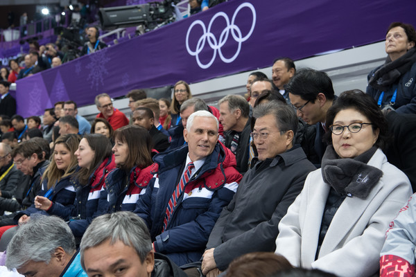 U.S. Vice President Mike Pence Visits South Korea - Day 3 [mike pence,karen,kim jung-sook,vice president,president,kim yo-jong,short track speed skating,product,people,crowd,fan,event,audience,stadium,sport venue,recreation,competition event,south korea,u.s.,gangneung ice arena]