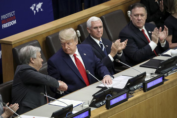 Mike Pompeo President Trump Addresses Meeting On Religious Freedom At The United Nations