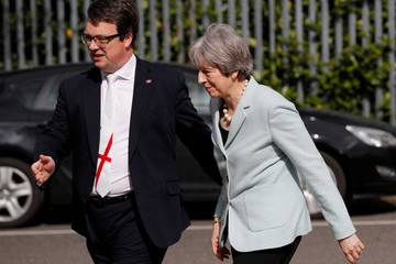 Mike Wood Theresa May Campaigns For Local Elections In The West Midlands