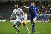 Nicky Maynard of MK Dons and Aiden O'Neill of Oldham Athletic in action  during the Sky Bet League One match between Milton Keynes Dons and Oldham Athletic at StadiumMK on February 7, 2017 in Milton Keynes, England.