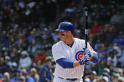Anthony Rizzo #44 of the Chicago Cubs bats against the Milwaukee Brewers at Wrigley Field on April 27, 2018 in Chicago, Illinois. The Cubs defeated the Brewers 3-2.
