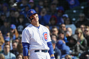 Anthony Rizzo #44 of the Chicago Cubs reacts to a called strike in the 7th inning against the Milwaukee Brewers at Wrigley Field on April 27, 2018 in Chicago, Illinois.
