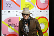 """Johnny Depp arrives for the """"Minamata"""" press conference during the 70th Berlinale International Film Festival Berlin at Grand Hyatt Hotel on February 21, 2020 in Berlin, Germany."""