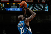 Kevin Garnett #21 of the Minnesota Timberwolves attempts a shot against the Atlanta Hawks at Philips Arena on November 9, 2015 in Atlanta, Georgia.  NOTE TO USER User expressly acknowledges and agrees that, by downloading and or using this photograph, user is consenting to the terms and conditions of the Getty Images License Agreement.