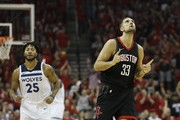 Ryan Anderson #33 of the Houston Rockets celebrates after a three point shot in the second half during Game Five of the first round of the 2018 NBA Playoffs against the Minnesota Timberwolves at Toyota Center on April 25, 2018 in Houston, Texas.  NOTE TO USER: User expressly acknowledges and agrees that, by downloading and or using this photograph, User is consenting to the terms and conditions of the Getty Images License Agreement.