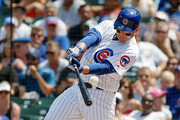 Anthony Rizzo #44 of the Chicago Cubs hits an RBI double against the Minnesota Twins during the second inning to score Ian Happ #8 (not pictured) at Wrigley Field on July 1, 2018 in Chicago, Illinois.