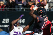 Alshon Jeffery #17 of the Chicago Bears catches a 21 yd pass for a touchdown against  Xavier Rhodes #29 of the Minnesota Vikings in the second quarter at Soldier Field on November 1, 2015 in Chicago, Illinois.