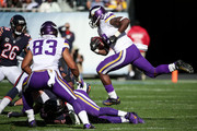 Adrian Peterson #28 of the Minnesota Vikings carries the football against the Chicago Bears in the second quarter at Soldier Field on November 1, 2015 in Chicago, Illinois.