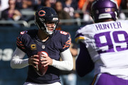 Quarterback  Jay Cutler #6 of the Chicago Bears looks to pass in the second quarter against the Minnesota Vikings at Soldier Field on November 1, 2015 in Chicago, Illinois.