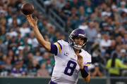 Quarterback Kirk Cousins #8 of the Minnesota Vikings throws a pass against the Philadelphia Eagles during the third quarter at Lincoln Financial Field on October 7, 2018 in Philadelphia, Pennsylvania. The Vikings won 23-21.