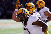 Rodney Smith #1 of the Minnesota Golden Gophers celebrates after rushing for a second half touchdown against the Maryland Terrapins  at Capital One Field on October 15, 2016 in College Park, Maryland.