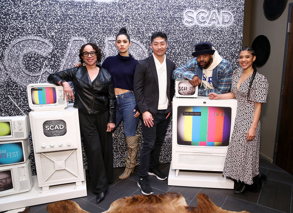 SCAD aTVfest 2020 - The Windy City Trifecta: Dick Wolf's 'Chicago' [product,skin,technology,electronics,design,room,interior design,electronic device,event,photography,dick wolf,brian tee,laroyce hawkins,miranda rae mayo,s. epatha merkerson,trifecta,scad atvfest 2020,l-r,windy city,scad atvfest,product]