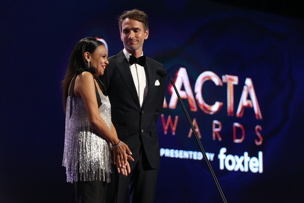 2019 AACTA Awards Presented By Foxtel | Ceremony [performance,event,fashion,stage,talent show,font,performing arts,photography,song,music artist,miranda tapsell,todd sampson,aacta award for best telefeature or mini series,australia,sydney,foxtel,the star,aacta awards,foxtel | ceremony]