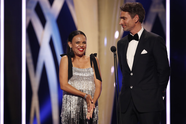 2019 AACTA Awards Presented By Foxtel | Ceremony [fashion,suit,event,formal wear,yellow,dress,tuxedo,photography,performance,fashion design,miranda tapsell,todd sampson,aacta award for best telefeature or mini series,australia,sydney,foxtel,the star,aacta awards,foxtel | ceremony]