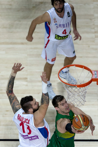 2014 FIBA Basketball World Cup - Day Ten [sports,basketball,basketball player,player,basketball moves,team sport,basketball court,ball game,sports equipment,r,tiago splitter,miroslav raduljica,ten,serbia,brazil,l,2014 fiba basketball world cup,match,fiba world basketball championship]