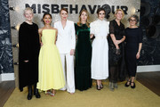 """(L-R) Director Philippa Lowthorpe, Gugu Mbatha-Raw, Keeley Hawes, Rebecca Frayn, Keira Knightley, Suzanne Mackie and Gaby Chiappe attends the """"Misbehaviour"""" World Premiere at The Ham Yard Hotel on March 09, 2020 in London, England."""
