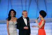(L) Wilnelia Forsyth and Bruce Forsyth (C) attend the Miss world 2011 World Final on November 6, 2011 in London, England.