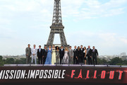 (L-R) Henry Cavill, Christopher McQuarrie, Wyck Godfrey, Jim Gianopulos, Michelle Monaghan, Vanessa Kirby, Angela Bassett, Tom Cruise,Alix Benezech,Caspar Philipson, Simon Pegg, Rebecca Ferguson, David Ellison, Dana Goldberg, and guests attend the Global Premiere of 'Mission: Impossible - Fallout' at Palais de Chaillot on July 12, 2018 in Paris, France.