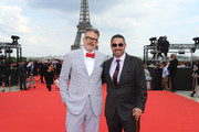 (L-R) Director Christopher McQuarrie and Producer Jake Myers attend the Global Premiere of 'Mission: Impossible - Fallout' at Palais de Chaillot on July 12, 2018 in Paris, France.