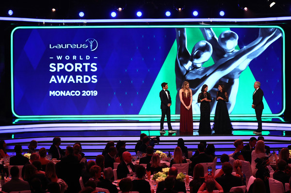 Show - 2019 Laureus World Sports Awards - Monaco [display device,stage,talent show,event,led display,technology,performance,flat panel display,electronic device,projection screen,james marsden,sean fitzpatrick.,members,lorena ochoa,missy franklin,luciana aymar,stage,monaco,new laureus academy,laureus world sports awards]