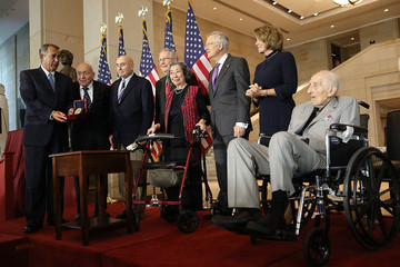 Mitch McConnell Richard Barancik Congress Holds Gold Medal Ceremony Honoring WWII Monuments Men