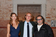 (L-R)  Louise Kugelberg, Olmo Schnabel and Julian Schnabel attend Miu Miu Women's Tales Dinner during 2019 Venice Film Festival on September 01, 2019 in Venice, Italy.