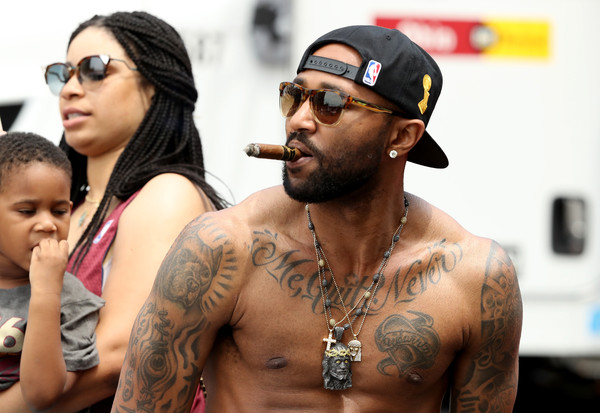Cleveland Cavaliers Victory Parade And Rally [people,barechested,tattoo,eyewear,chest,human,arm,facial hair,cool,muscle,mo williams,cleveland,ohio,cleveland cavaliers,cleveland cavaliers victory parade,rally,nba championship,victory parade]