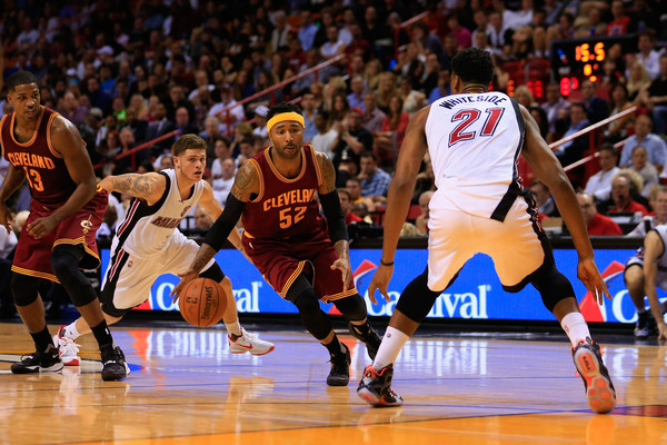Cleveland Cavaliers v Miami Heat [player,sports,basketball moves,basketball player,basketball court,tournament,sport venue,ball game,fan,basketball,mo williams,user,user,justise winslow 20,user,note,ball,miami,cleveland cavaliers,miami heat]