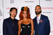 (L-R) Lucas Goodman and Jillian Hervey of Lion Babe and  Director of MoCADA James Bartlett attend the MoCADA 3rd Annual Masquerade Ball at Brooklyn Academy of Music on October 25, 2017 in New York City.