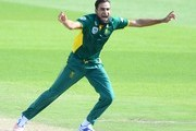 Imran Tahir of the Proteas celebrates the wicket of Travis Head of Australia during the 1st Momentum ODI Series match between South Africa and Australia at SuperSport Park on September 30, 2016 in Pretoria, South Africa.