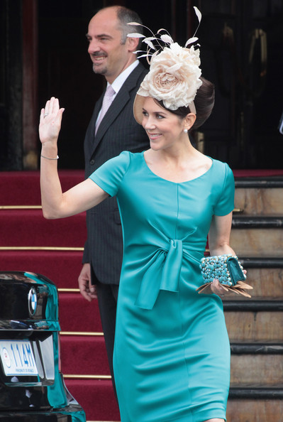 Crown Princess Mary of Denmark is seen leaving the Hotol de Paris to attend the religious ceremony of the Royal Wedding of Prince Albert II of Monaco to Charlene Wittstock in the main courtyard on July 2, 2011 in Monaco, Monaco.