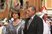 Jacques Rogge (R) and wife Anne Rogge (L) attend the religious ceremony of the Royal Wedding of Prince Albert II of Monaco to Princess Charlene of Monaco in the main courtyard at the Prince's Palace on July 2, 2011 in Monaco. The Roman-Catholic ceremony follows the civil wedding which was held in the Throne Room of the Prince's Palace of Monaco on July 1. With her marriage to the head of state of the Principality of Monaco, Charlene Wittstock has become Princess consort of Monaco and gains the title, Princess Charlene of Monaco. Celebrations including concerts and firework displays are being held across several days, attended by a guest list of global celebrities and heads of state.
