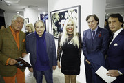 (L-R) Pierre Cornette de Saint Cyr, Robert Hossein, Monika Bacardi,  Alain Toucas and David Swaelens-Kane attend the launch of PhotoManagement at galerie Opera on November 10, 2015 in Paris, France.