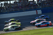 Austin Dillon, driver of the #3 American Ethanol e15 Chevrolet, leads a pack of cars during the Monster Energy NASCAR Cup Series 1000Bulbs.com 500 at Talladega Superspeedway on October 14, 2018 in Talladega, Alabama.