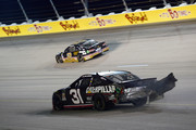 Ryan Newman, driver of the #31 Caterpillar Chevrolet, is involved in an on-track incident during the Monster Energy NASCAR Cup Series Bojangles' Southern 500 at Darlington Raceway on September 2, 2018 in Darlington, South Carolina.
