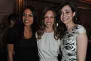 "(L-R) Actresses Rosario Dawson wearing  Montblanc Star 4810 in Yellow Gold, Hilary Swank wearing Montblanc Princesse Grace de Monaco Collection in Red Gold diamonds and Emmy Rossum wearing Montblanc Star Classique Lady Automatic and Montblanc Princesse Grace de Monaco Collection attend a Pre-Oscar charity brunch hosted by Montblanc and UNICEF to celebrate the launch of their new ""Signature For Good 2013"" Initiative with special guest Hilary Swank at Hotel Bel-Air on February 23, 2013 in Los Angeles, California."