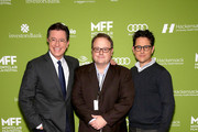 (L-R) Stephen Colbert, executive director, MFF Tom Hall and J.J. Abrams attend Montclair Film Festival Presents Celebrity Nerd-Off: Stephen Colbert & J.J. Abrams  on November 21, 2015 in Newark, New Jersey.