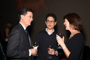 (L-R) Stephen Colbert, J.J. Abrams and Vice-Chairman of the Board, MFF Evelyn Colbert attend the Montclair Film Festival Presents Celebrity Nerd-Off: Stephen Colbert & J.J. Abrams on November 21, 2015 in Newark, New Jersey.