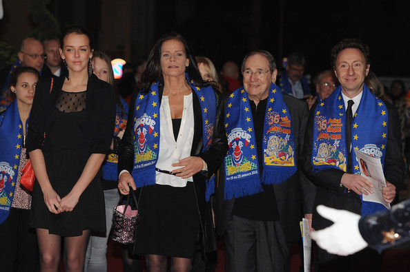 (L-R)Pauline Ducruet, Camille Gottlieb, Princess Stephanie of Monaco, Robert Hossein and Stephane Bern attend the Monte-Carlo 36th International Circus Festival on January 21, 2012 in Monte-Carlo, Monaco.