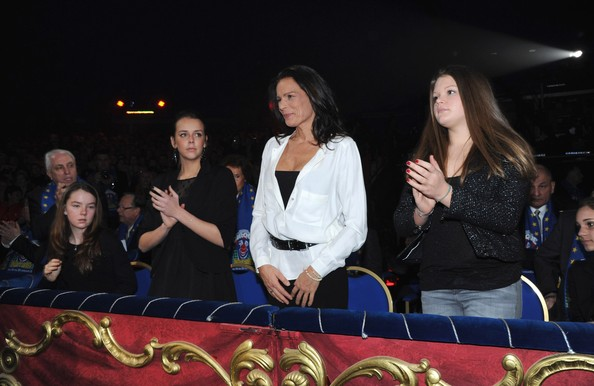 In this handout image provided by the Monaco Palace, (2nd L - R) Pauline Ducruet, Princess Stephanie of Monaco and Camille Gottlieb attend the 36th Monte-Carlo International Circus Festival on January 21, 2012 in Monte-Carlo, Monaco.