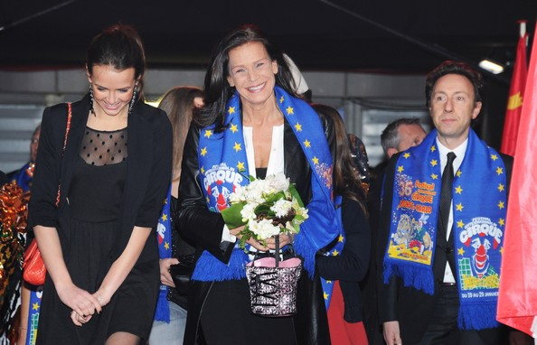 In this handout image provided by the Monaco Palace, (L - R) Pauline Ducruet, Princess Stephanie of Monaco and Stephane Bern attend the 36th Monte-Carlo International Circus Festival on January 21, 2012 in Monte-Carlo, Monaco.