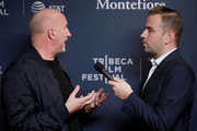 Director John Hillcoat speaks to a reporter at CORAZON, Tribeca Film Festival public screening and red carpet event presented by Montefiore on April 22, 2018 in New York City.