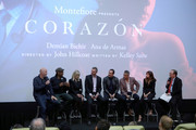 (L-R) Director John Hillcoat, Screenwriter Kelley Sane, Loreen Babcock, Dr. Mario Garcia, Demian Bichir, Dr. Daniel Goldstein, and Ana de Armas speak onstage at CORAZON, Tribeca Film Festival Public Screening and Red Carpet Event presented by Montefiore on April 22, 2018 in New York City.
