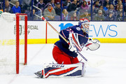 Sergei Bobrovsky #72 of the Columbus Blue Jackets follows the puck during the game agains the Montreal Canadiens on March 12, 2018 at Nationwide Arena in Columbus, Ohio. Columbus defeated Montreal 5-2.