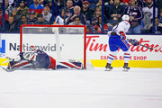 Jonathan Drouin #92 of the Montreal Canadiens beats Sergei Bobrovsky #72 of the Columbus Blue Jackets for a goal during the second period on March 12, 2018 at Nationwide Arena in Columbus, Ohio.