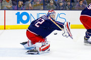 Sergei Bobrovsky #72 of the Columbus Blue Jackets makes a save during the game against the Montreal Canadiens on March 12, 2018 at Nationwide Arena in Columbus, Ohio. Columbus defeated Montreal 5-2.