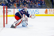 Sergei Bobrovsky #72 of the Columbus Blue Jackets follows the puck during the game against the Montreal Canadiens on March 12, 2018 at Nationwide Arena in Columbus, Ohio.