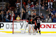John Gibson #36 is congratulated by David Perron #57 of the Anaheim Ducks after the Anaheim Ducks defeated the Montreal Canadiens 3-2 in a shootout at Honda Center on March 2, 2016 in Anaheim, California.
