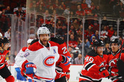 Andrei Markov #79 of the Montreal Canadiens skates against the New Jersey Devils at the Prudential Center on February 27, 2017 in Newark, New Jersey. The Canadiens defeated the Devils 4-3 in overtime.